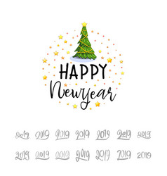 happy new year 2019 christmas poster with 3d vector image