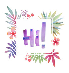 Hawaii greeting with tropical leaves frame vector