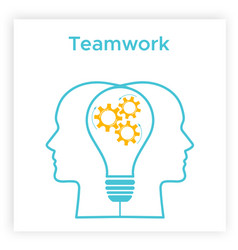 heads profile lightbulb creative teamwork concept vector image