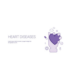 heart diseases web banner with copy space vector image