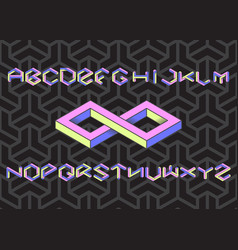 Hexagon font set vector