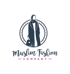 hijab fashion logo design vector image