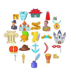 History icons set cartoon style vector