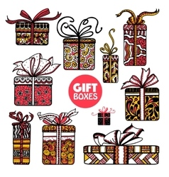 Holiday presents boxes set color doodle vector