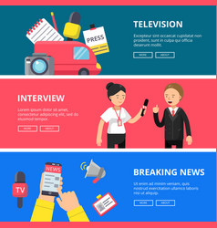 Horizontal banners of journalism and broadcasting vector
