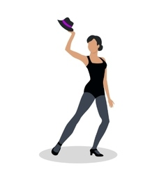 Jazz Dancer in Black Tights Launches with Hat vector