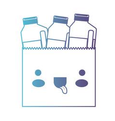 kawaii paper bag with drinks orange juice bottles vector image