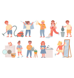 kids housework children doing chores cleaning vector image
