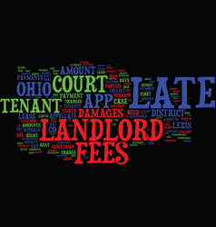 Landlord s corner late fees in ohio text vector