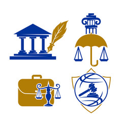 law justice firm logo design icon template set vector image