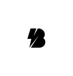 Letter b with lightning bolt logo design concept vector