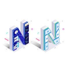 letters n with social networks elements vector image