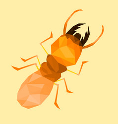 Low poly termite with soft orange back vector