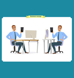 Male office worker poses sitting at computer vector