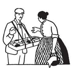 Man selling to woman vintage vector