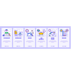 mobile app onboarding screens business work place vector image