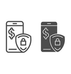mobile payment protection line and glyph icon pay vector image