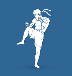 Muay thai thai boxing action graphic vector