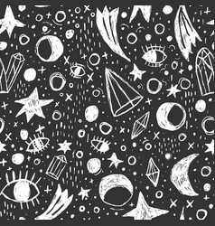 Occult mystic wicca witchcraft seamless pattern vector