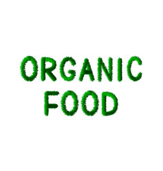 Organic food is written in letters made green vector