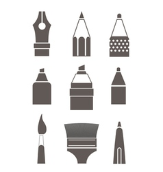 Paint and writing tools silhouettes collection iso vector image
