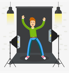 photostudio guy happy vector image