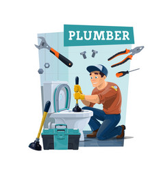 plumber cleaning toilet with plunger and tools vector image