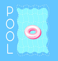 pool blue water and swimming ring advert banner vector image