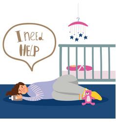 postnatal depression vector image