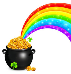 Pot gold with magic rainbow vector