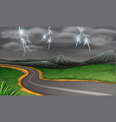 Rainy thunderstorms at night vector