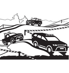 Rally with off-road vehicles vector