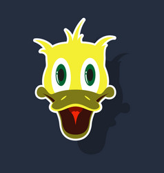 realistic paper sticker on theme funny animal duck vector image