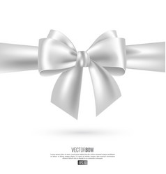 Realistic white bow and ribbon vector