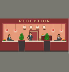 Reception service hotel employees welcome guests vector