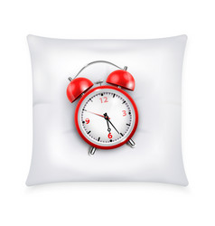 red retro alarm clock on white pillow vector image