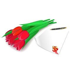 Red tulips and love letter on a white background vector image