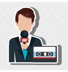 Reporter avatar with cassette isolated icon vector