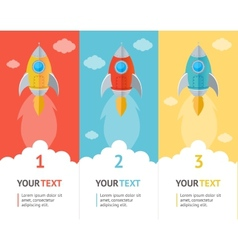 Rocket flat option banners vector