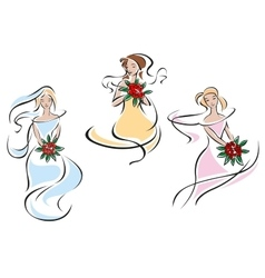 Romantic brides in colorful wedding dresses vector