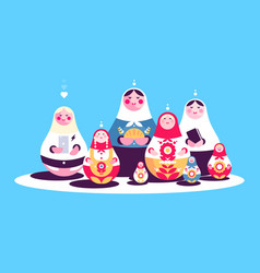 Russian traditional nesting dolls collection vector