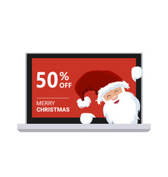 santa claus inside a promotional laptop and discou vector image
