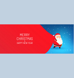 santa claus with a huge bag on run vector image