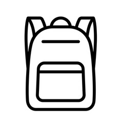 schoolbag or school bag backpack line icon vector image
