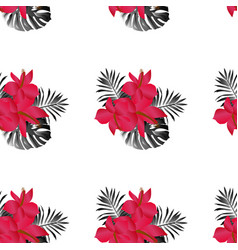 Seamless tropical flower pattern vector