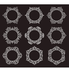 Set of 9 round frames vector image