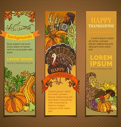 Set of bright Thanksgiving vertical banners vector