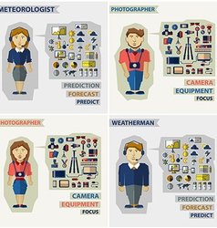 Set of professions Photographer meteorologist vector image