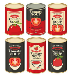 Set tin cans with labels tomato soup vector