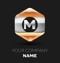 Silver letter m logo in silver-golden hexagonal vector